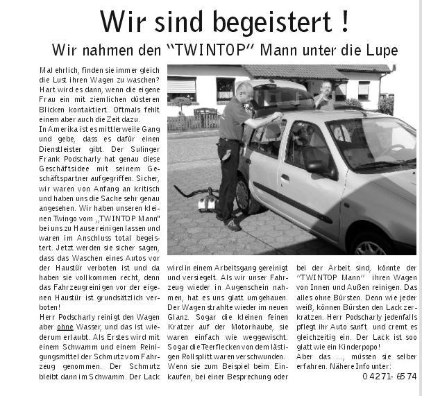 Autowaschen ohne Wasser Artikel im Stadtsnack Sulingen.